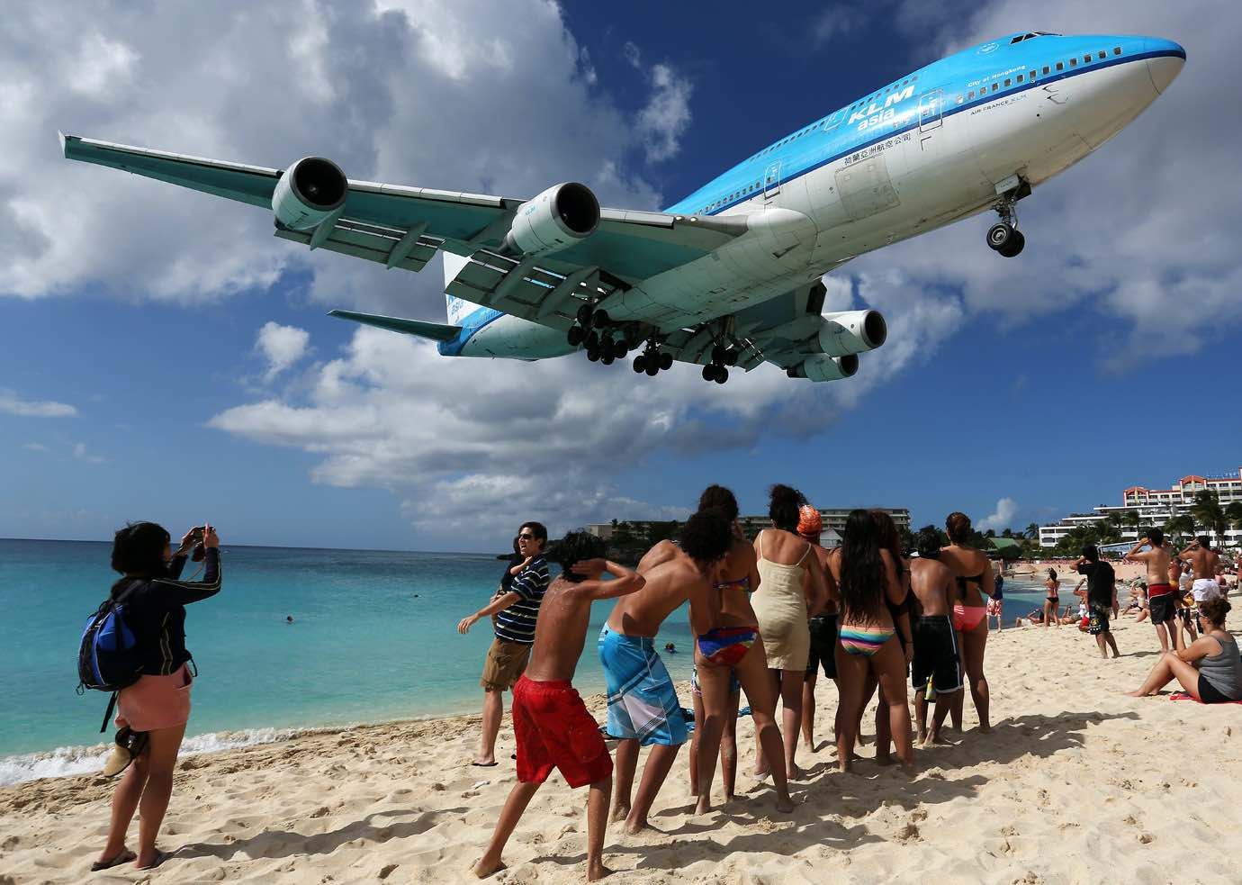Things to do in St Marten St Maarten include watching KLM_Asia_Boeing_747-400_landing_at_SXM
