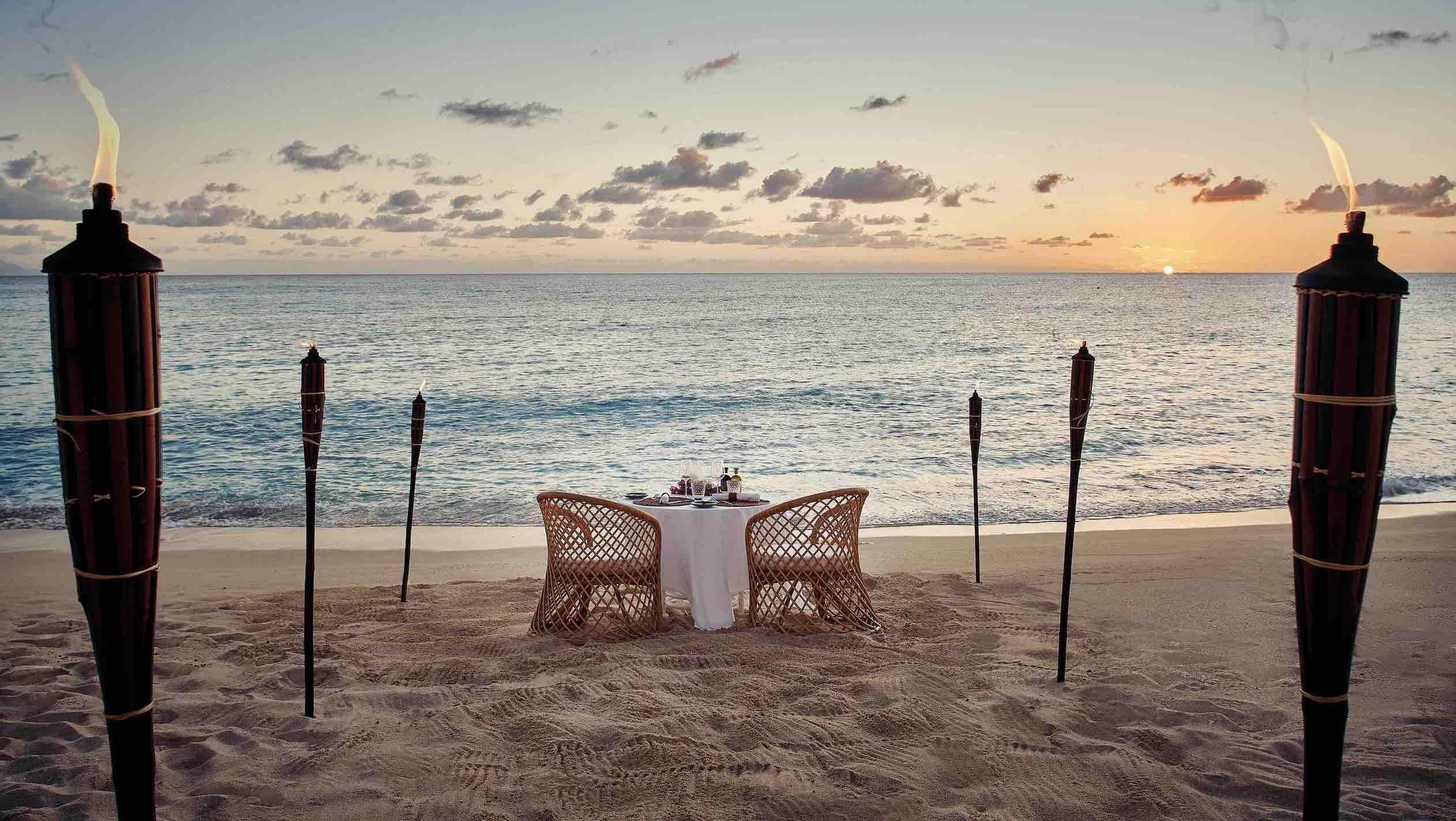 Belmond La Samanna beach dining at sunset beautiful resorts in St Martin