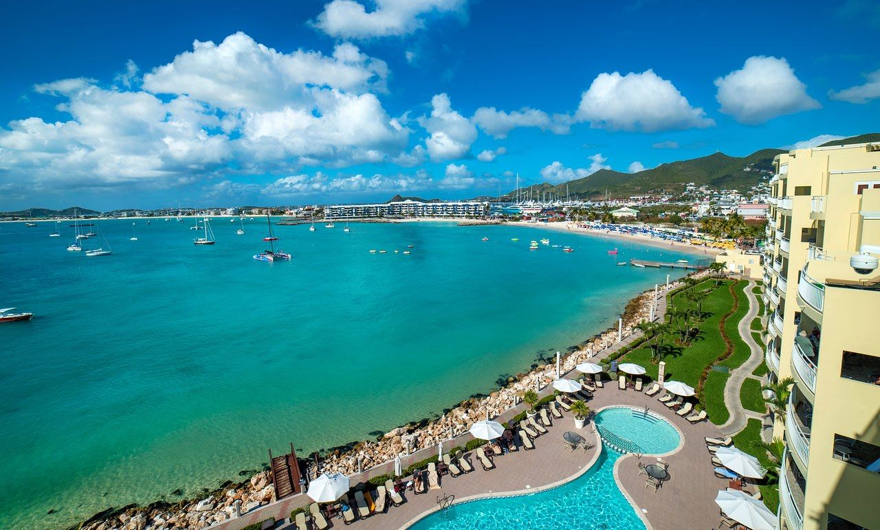 One of the top luxury resorts in St Martin is Simpson Bay Resort and Marina shown here on the coastline