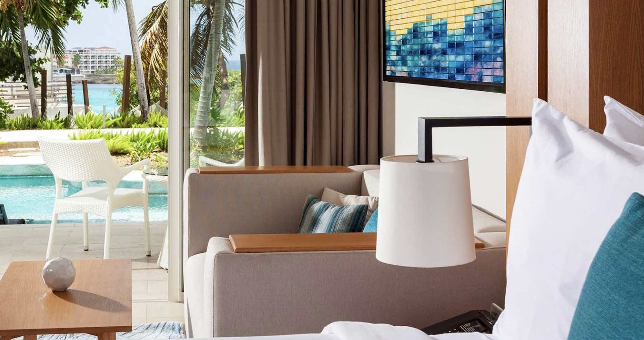 Luxury resorts in St Martin include Sonesta Ocean Point Resort room and view